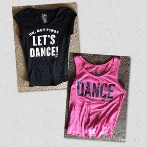 Lot of 2 Justice Dance Theme Girls Shirts Sz 14